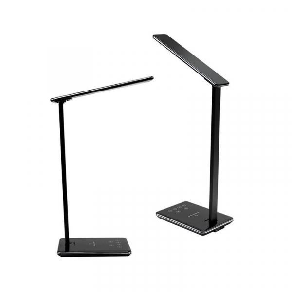 Lampa de birou cu incarcare wireless, Pliabila, Protectie ochi, Iesire USB, Viziune Led, Control prin atingere, Alb 7