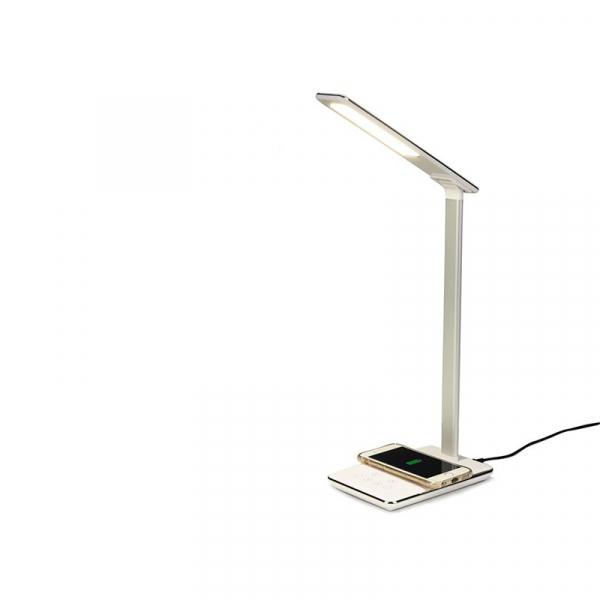 Lampa de birou cu incarcare wireless, Pliabila, Protectie ochi, Iesire USB, Viziune Led, Control prin atingere, Alb 1