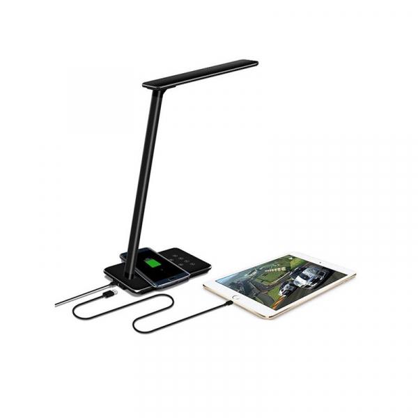 Lampa de birou cu incarcare wireless, Pliabila, Protectie ochi, Iesire USB, Viziune Led, Control prin atingere, Alb 5