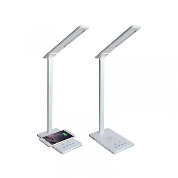 Lampa de birou cu incarcare wireless, Pliabila, Protectie ochi, Iesire USB, Viziune Led, Control prin atingere, Alb 3