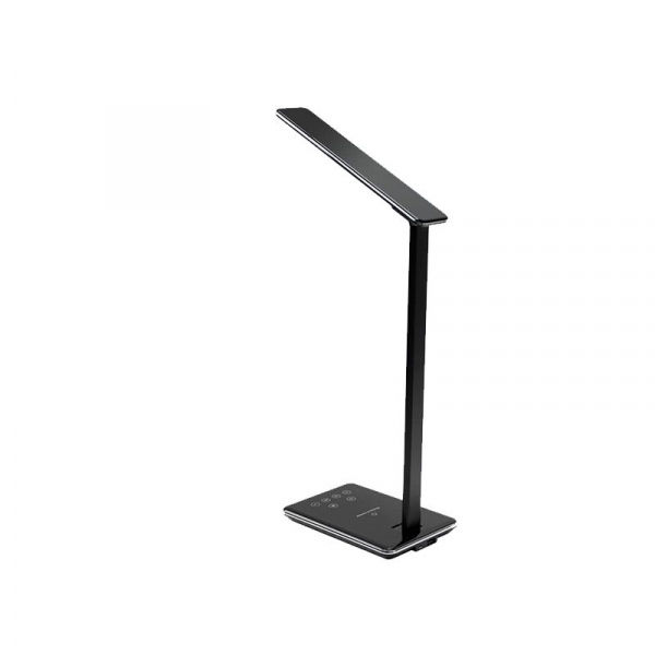 Lampa de birou cu incarcare wireless, Pliabila, Protectie ochi, Iesire USB, Viziune Led, Control prin atingere, Alb 6