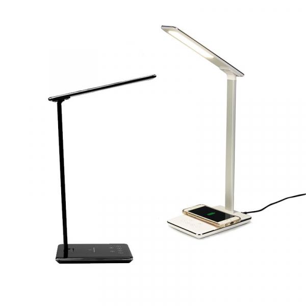 Lampa de birou cu incarcare wireless, Pliabila, Protectie ochi, Iesire USB, Viziune Led, Control prin atingere, Alb 4