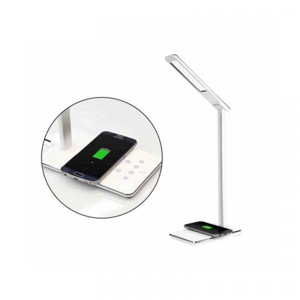 Lampa de birou cu incarcare wireless, Pliabila, Protectie ochi, Iesire USB, Viziune Led, Control prin atingere, Alb 2