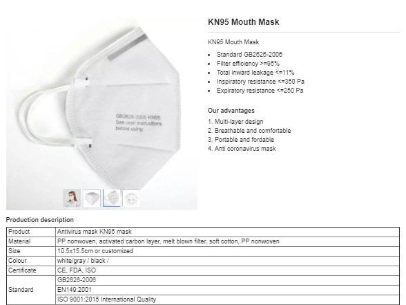 Masca faciala KN95, antivirus cu 5 straturi de calitate superioara internationala si fixare cu elastic 6