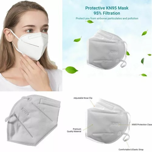 Masca faciala KN95, antivirus cu 5 straturi de calitate superioara internationala si fixare cu elastic 5