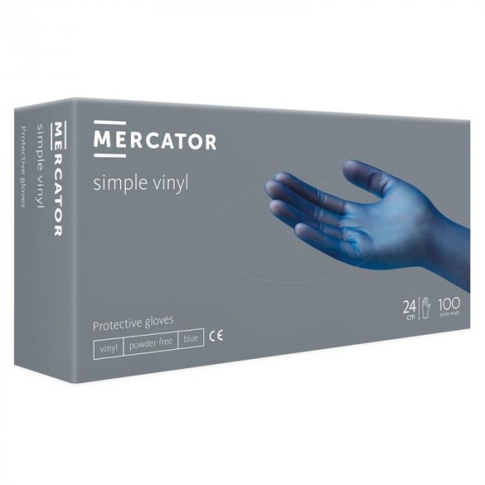 Manusi de protectie din vinil nepudrate Mercator Simple Vynil Albastru, Interior clorurat, Non-sterile, Non-latex, Ambidextre, 100 bucati imagine dualstore.ro 2021