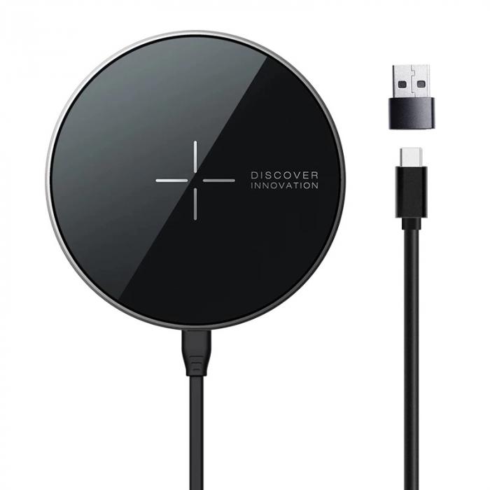 Incarcator wireless magnetic Nillkin MagSlim NKT06 cu incarcare rapida Qi 10W, Tehnologie MagSafe pentru iPhone seria 12, FOD imagine dualstore.ro 2021
