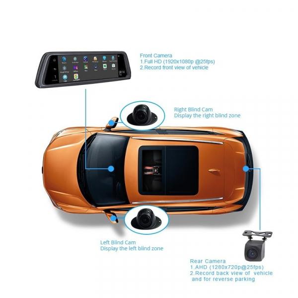 Oglinda retrovizoare Star V9 Plus DVR, 4G, Android, GPS, 10inch, 2GB RAM 32GB ROM, Wifi, Bluetooth, Slot card, 4 Camere fata-spate-laterale, ADAS, FHD 2