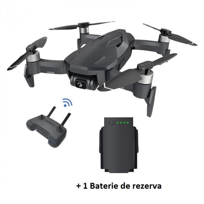 Pachet drona pliabila FunSnap Diva Gri cu 2 baterii, Camera 4K HD, Gymbal, GPS, Wi-Fi 5.8G, Mod Vlog, Control prin gesturi, 2250mAh imagine dualstore.ro 2021