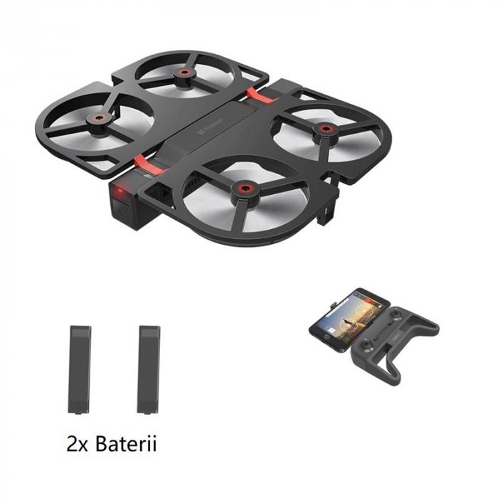 Pachet drona pliabila FunSnap iDol Negru cu 2 baterii, Motor fara perii, Camera FHD, Senzor CMOS, Memorie 8GB, GPS, Wi-Fi, 1800mAh imagine dualstore.ro 2021