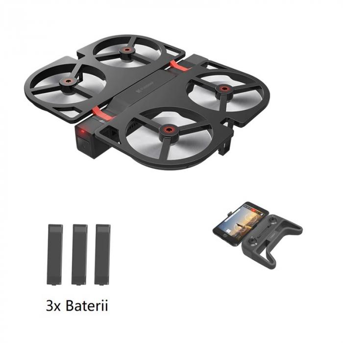 Pachet drona pliabila FunSnap iDol Negru cu 3 baterii, Motor fara perii, Camera FHD, Senzor CMOS, Memorie 8GB, GPS, Wi-Fi, 1800mAh 0
