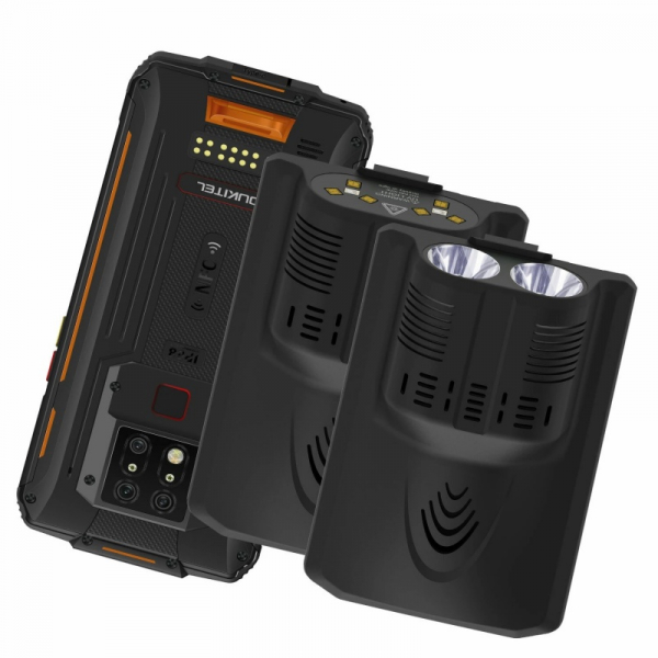 Pachet telefon mobil Oukitel WP7 cu modul UVC si lanterna, 4G, IPS 6.53 , 8GB RAM, 128GB ROM, Helio P90, NFC, IP68, 8000mAh, Dual SIM,Orange