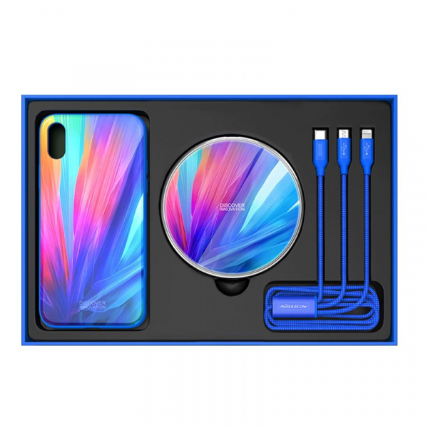 Set Cadou Extravagant - Nillkin Fancy Gift Set - Cablu de date 3 in 1, Incarcator wireless, Husa tempered glass pentru iPhone X 3