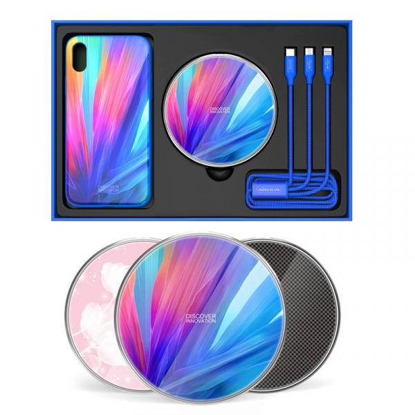 Set Cadou Extravagant - Nillkin Fancy Gift Set - Cablu de date 3 in 1, Incarcator wireless, Husa tempered glass pentru iPhone X 2