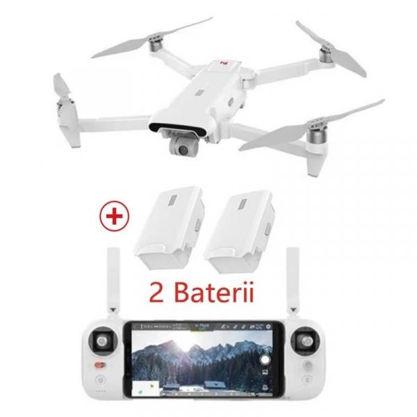 Set drona Xiaomi FIMI X8 SE 2020 cu 2 baterii, Camera 4K, 12MP Sony CMOS, Gimbal pe 3 axe, GPS, 35 min timp zbor, 2x 4500mAh, Alb imagine 2021
