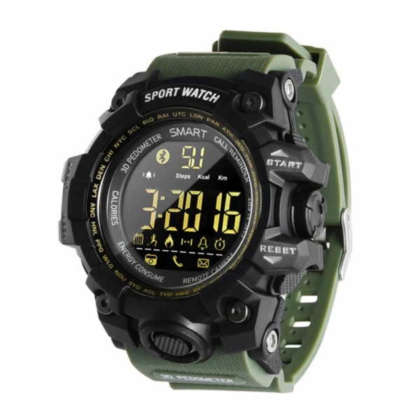 Smartwatch STAR EX16S, LCD FSTN iluminat, Waterproof IP67, Bluetooth v4.0, Baterie CR2032, Verde militar 0