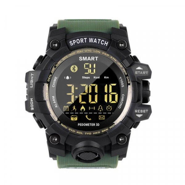 Smartwatch STAR EX16S, LCD FSTN iluminat, Waterproof IP67, Bluetooth v4.0, Baterie CR2032, Verde militar 1