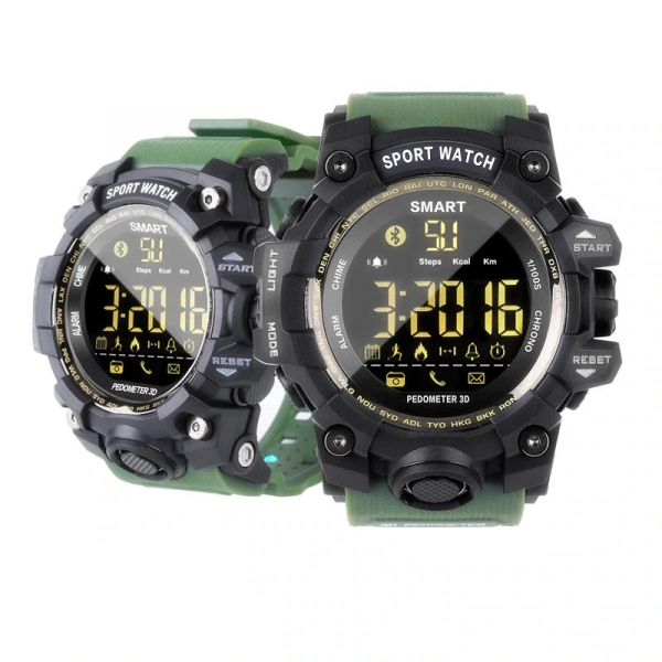 Smartwatch STAR EX16S, LCD FSTN iluminat, Waterproof IP67, Bluetooth v4.0, Baterie CR2032, Verde militar 2