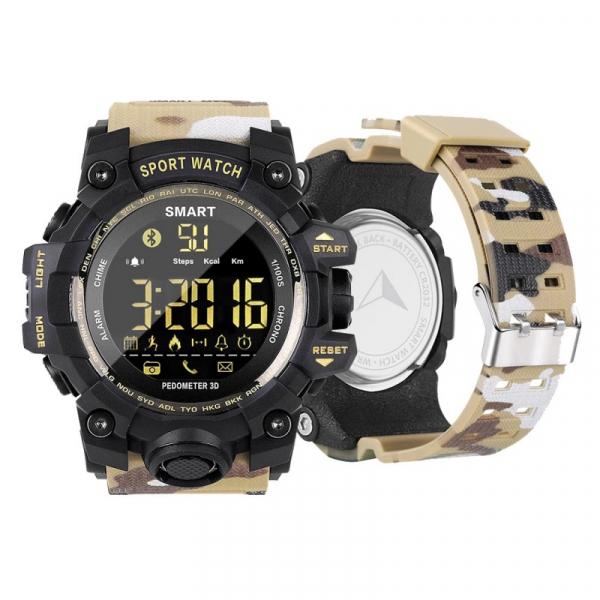 Smartwatch STAR EX16S, LCD FSTN iluminat, Waterproof IP67, Bluetooth v4.0, Baterie CR2032, Kaki camuflaj 2