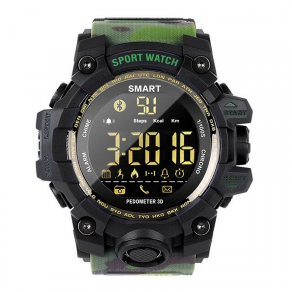 Smartwatch STAR EX16S, LCD FSTN iluminat, Waterproof IP67, Bluetooth v4.0, Baterie CR2032, Verde camuflaj 1