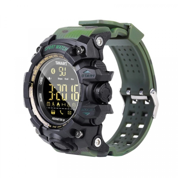 Smartwatch STAR EX16S, LCD FSTN iluminat, Waterproof IP67, Bluetooth v4.0, Baterie CR2032, Verde camuflaj 2