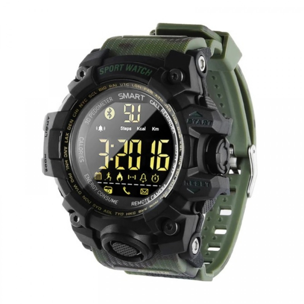 Smartwatch STAR EX16S, LCD FSTN iluminat, Waterproof IP67, Bluetooth v4.0, Baterie CR2032, Verde camuflaj 0