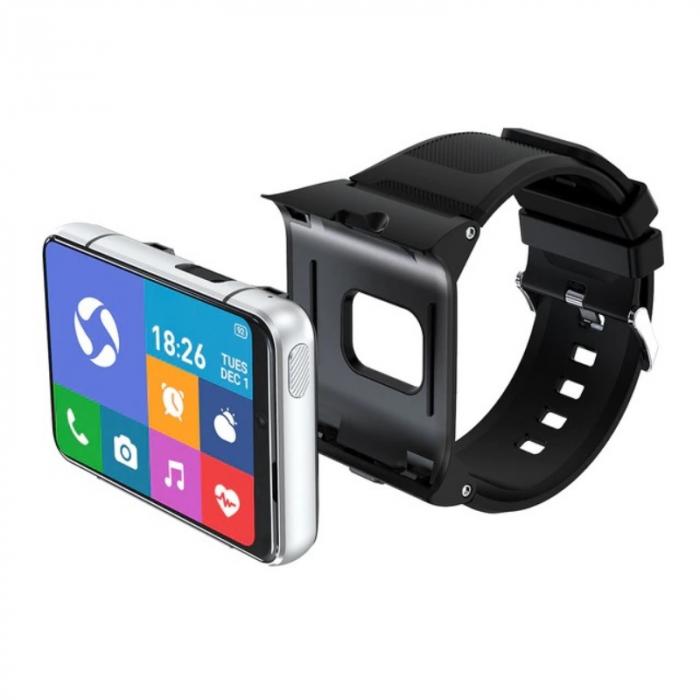 Smartwatch STAR S999 Silver, 4G, AMOLED 2.88 HD, 4GB RAM, 64GB ROM, Android 9, MTK6761 OctaCore, GPS, Ritm cardiac, Dual camera, 2300mAh imagine dualstore.ro 2021