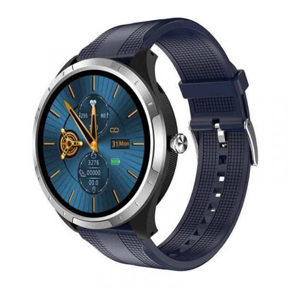 Smartwatch STAR X3 Silver cu bratara albastra din TPU, 1.3 Full Touch, EKG, Saturatie oxigen, Ritm cardiac, Presiune sanguina, IP68
