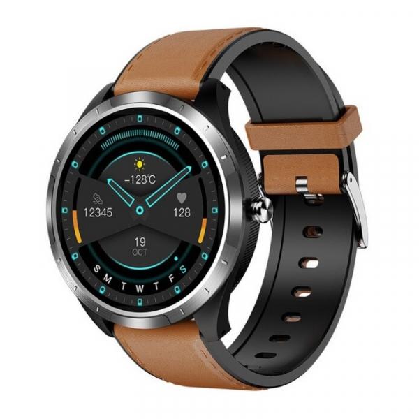 Smartwatch STAR X3 Silver cu bratara maro deschis din piele, 1.3 Full Touch, EKG, Saturatie oxigen, Ritm cardiac, Presiune sanguina, IP68