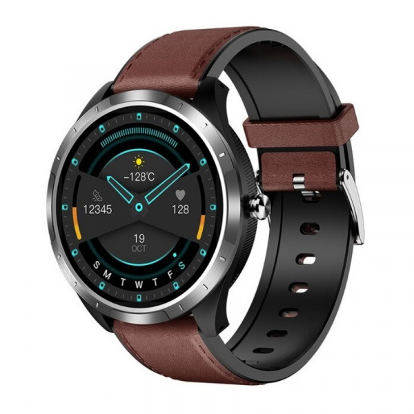 Smartwatch STAR X3 Silver cu bratara maro inchis din piele, 1.3 Full Touch, EKG, Saturatie oxigen, Ritm cardiac, Presiune sanguina, IP68