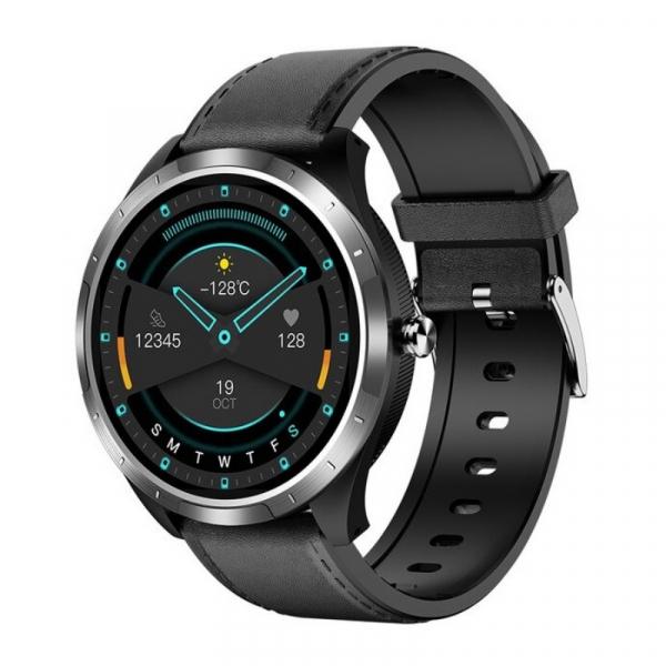 Smartwatch STAR X3 Silver cu bratara neagra din piele, 1.3 Full Touch, EKG, Saturatie oxigen, Ritm cardiac, Presiune sanguina, IP68