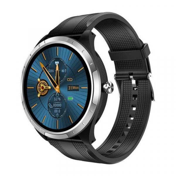 Smartwatch STAR X3 Silver cu bratara neagra din TPU, 1.3 Full Touch, EKG, Saturatie oxigen, Ritm cardiac, Presiune sanguina, IP68