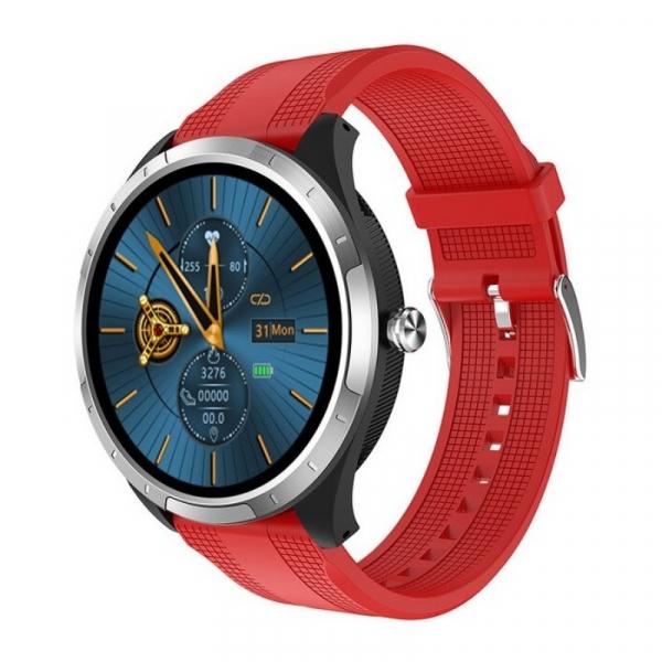 Smartwatch STAR X3 Silver cu bratara rosie din TPU, 1.3 Full Touch, EKG, Saturatie oxigen, Ritm cardiac, Presiune sanguina, IP68