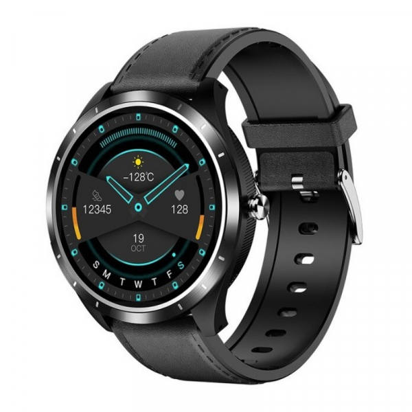 Smartwatch STAR X3 Negru cu bratara neagra din piele, 1.3 Full Touch, EKG, Saturatie oxigen, Ritm cardiac, Presiune sanguina, IP68