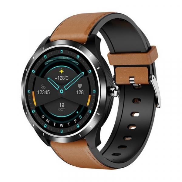 Smartwatch STAR X3 Negru cu bratara maro deschis din piele, 1.3 Full Touch, EKG, Saturatie oxigen, Ritm cardiac, Presiune sanguina, IP68