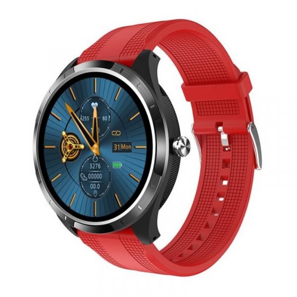 Smartwatch STAR X3 Negru cu bratara rosie din TPU, 1.3 Full Touch, EKG, Saturatie oxigen, Ritm cardiac, Presiune sanguina, IP68