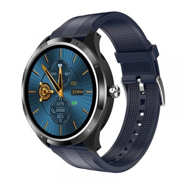 Smartwatch STAR X3 Negru cu bratara albastra din TPU, 1.3 Full Touch, EKG, Saturatie oxigen, Ritm cardiac, Presiune sanguina, IP68