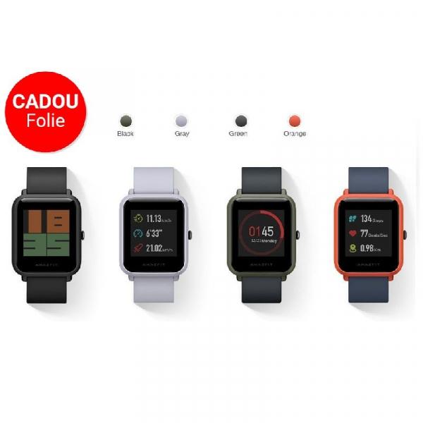 Smartwatch Xiaomi Amazfit Bip + folie cadou , GPS, Bluetooth, Waterproof IP68, ecran curbat 1.28 inch, ritm cardiac 9