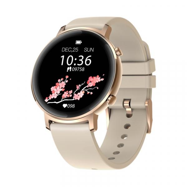 Smartwatch Zeblaze GTR Gold, IPS 1.3 , Ritm cardiac, Presiune sanguina, Calorii, Menstruatie, Meteo, Control muzica, 180mAh