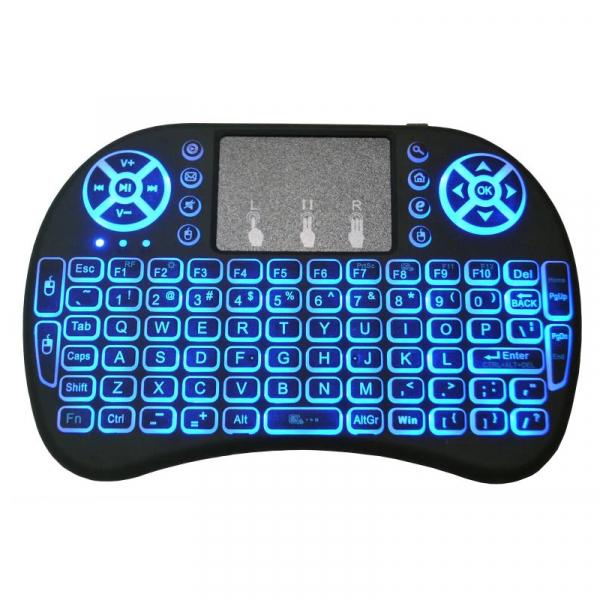 Telecomanda wireless QWERTY cu mini tastatura STAR i8, 2.4G, Iluminare LED 7 culori, Air mouse, Touch pad, Negru 1