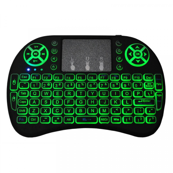 Telecomanda wireless QWERTY cu mini tastatura STAR i8, 2.4G, Iluminare LED 7 culori, Air mouse, Touch pad, Negru 2