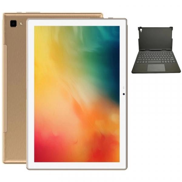 Tableta Blackview Tab 8E Gold + Tastatura, WiFi, IPS 10.1 FHD+, Android 10, 3GB RAM LPDDR4X, 32GB ROM, OctaCore, 13MP, Face ID, 6580mAh