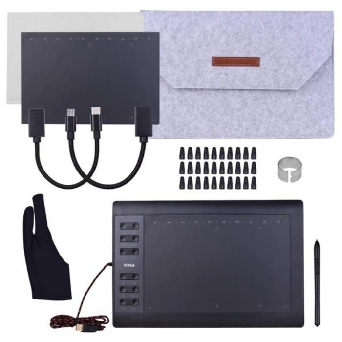 "Tableta grafica digitala de scris si desenat Vinsa VIN1060 Plus Negru, 10x6"", 8192 niveluri presiune, 5080LPI, 30 varfuri, Manusa, Hand film 0"