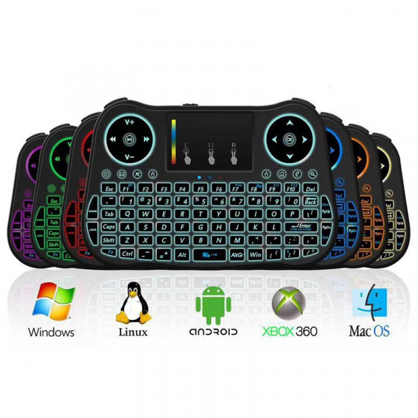 Telecomanda cu mini tastatura Rainbow backlit MT08, Air Mouse, Touch Pad, Wireless, Iluminare led, QWERTY 0