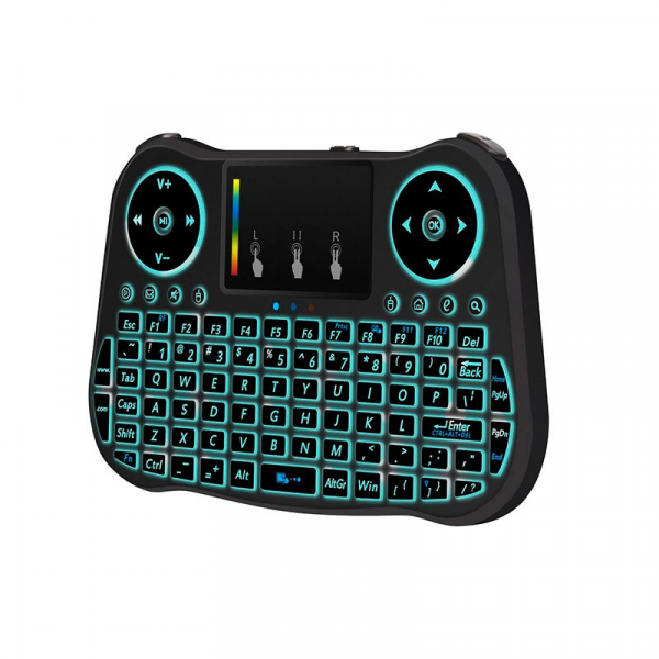 Telecomanda cu mini tastatura Rainbow backlit MT08, Air Mouse, Touch Pad, Wireless, Iluminare led, QWERTY 4