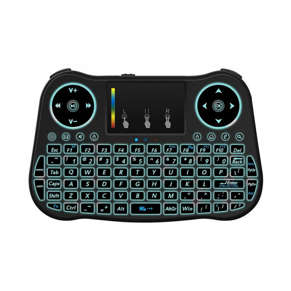 Telecomanda cu mini tastatura Rainbow backlit MT08, Air Mouse, Touch Pad, Wireless, Iluminare led, QWERTY 1