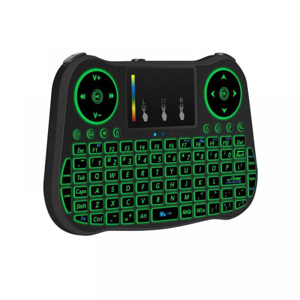 Telecomanda cu mini tastatura Rainbow backlit MT08, Air Mouse, Touch Pad, Wireless, Iluminare led, QWERTY 3
