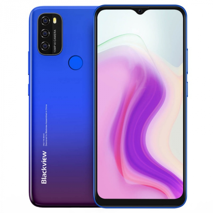 Telefon mobil Blackview A70 Albastru, 4G, IPS 6.517 Waterdrop, 3GB RAM, 32GB ROM, Android 11, Unisoc SC9863A OctaCore, 5380mAh, Dual SIM imagine dualstore.ro 2021