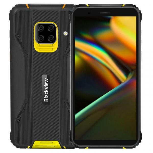 Telefon mobil Blackview BV5100 Pro Galben, 4G, IPS 5.7 , 4GB RAM, 128GB ROM, Android 10, Helio P22, Scanner cod bare, NFC, 5580mAh, Dual SIM
