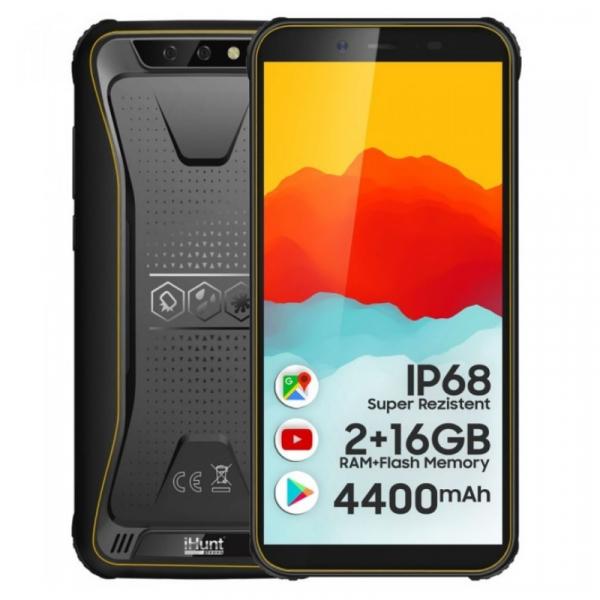 Telefon mobil iHunt S10 Tank 2021 Galben, 3G, IPS 5.5 , 2GB RAM, 16GB ROM, Android 8.1, MTK6580P Quad-Core, IP68, Face ID, 4400mAh, Dual SIM imagine